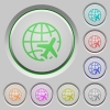 World travel push buttons - World travel color icons on sunk push buttons