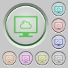 Cloud computing push buttons - Cloud computing color icons on sunk push buttons