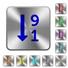 Descending numbered list rounded square steel buttons - Descending numbered list engraved icons on rounded square glossy steel buttons