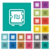 New Shekel strong box square flat multi colored icons - New Shekel strong box multi colored flat icons on plain square backgrounds. Included white and darker icon variations for hover or active effects.