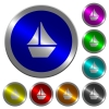 Sailboat luminous coin-like round color buttons - Sailboat icons on round luminous coin-like color steel buttons