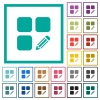 Edit component flat color icons with quadrant frames - Edit component flat color icons with quadrant frames on white background