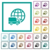 International transport flat color icons with quadrant frames - International transport flat color icons with quadrant frames on white background