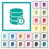 Database timed events flat color icons with quadrant frames - Database timed events flat color icons with quadrant frames on white background