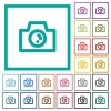 Camera flat color icons with quadrant frames - Camera flat color icons with quadrant frames on white background