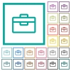 Toolbox flat color icons with quadrant frames - Toolbox flat color icons with quadrant frames on white background