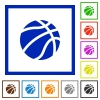 Basketball flat framed icons - Basketball flat color icons in square frames on white background