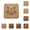 Team wooden buttons - Team on rounded square carved wooden button styles