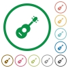 Acoustic guitar flat icons with outlines - Acoustic guitar flat color icons in round outlines on white background