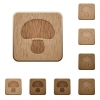 Mushroom wooden buttons - Mushroom on rounded square carved wooden button styles