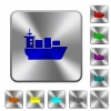Sea transport rounded square steel buttons - Sea transport engraved icons on rounded square glossy steel buttons