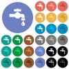 Water faucet with water drop round flat multi colored icons - Water faucet with water drop multi colored flat icons on round backgrounds. Included white, light and dark icon variations for hover and active status effects, and bonus shades on black backgounds.