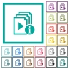 Playlist information flat color icons with quadrant frames - Playlist information flat color icons with quadrant frames on white background