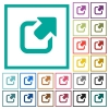 Export symbol with upper right arrow flat color icons with quadrant frames - Export symbol with upper right arrow flat color icons with quadrant frames on white background
