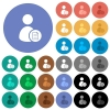 User account properties round flat multi colored icons - User account properties multi colored flat icons on round backgrounds. Included white, light and dark icon variations for hover and active status effects, and bonus shades on black backgounds.
