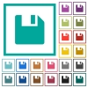 Save data flat color icons with quadrant frames - Save data flat color icons with quadrant frames on white background