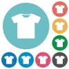 T-shirt flat round icons - T-shirt flat white icons on round color backgrounds
