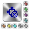 Cancel size rounded square steel buttons - Cancel size engraved icons on rounded square glossy steel buttons