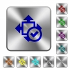 Accept size rounded square steel buttons - Accept size engraved icons on rounded square glossy steel buttons