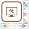 Desktop tools simple icons - Desktop tools simple icons in color rounded square frames on white background