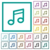 Music note flat color icons with quadrant frames - Music note flat color icons with quadrant frames on white background