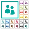 User group flat color icons with quadrant frames - User group flat color icons with quadrant frames on white background