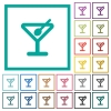 Cocktail flat color icons with quadrant frames - Cocktail flat color icons with quadrant frames on white background