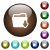 Download folder color glass buttons - Download folder white icons on round color glass buttons