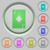 Jack of diamonds card push buttons - Jack of diamonds card color icons on sunk push buttons