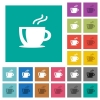 Cappuccino square flat multi colored icons - Cappuccino multi colored flat icons on plain square backgrounds. Included white and darker icon variations for hover or active effects.