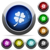 Four leaf clover round glossy buttons - Four leaf clover icons in round glossy buttons with steel frames