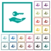 Security service flat color icons with quadrant frames - Security service flat color icons with quadrant frames on white background
