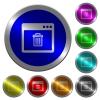Application delete luminous coin-like round color buttons - Application delete icons on round luminous coin-like color steel buttons