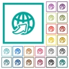 Worldwide flat color icons with quadrant frames - Worldwide flat color icons with quadrant frames on white background