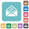 Open mail with email symbol rounded square flat icons - Open mail with email symbol white flat icons on color rounded square backgrounds