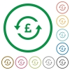 Pound pay back flat icons with outlines - Pound pay back flat color icons in round outlines on white background