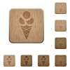 Ice cream wooden buttons - Ice cream on rounded square carved wooden button styles