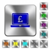 Laptop with Pound sign rounded square steel buttons - Laptop with Pound sign engraved icons on rounded square glossy steel buttons