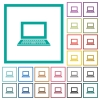 Laptop with blank screen flat color icons with quadrant frames - Laptop with blank screen flat color icons with quadrant frames on white background