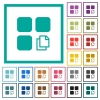 Copy component flat color icons with quadrant frames - Copy component flat color icons with quadrant frames on white background