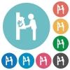 Lira cash machine flat round icons - Lira cash machine flat white icons on round color backgrounds