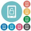 Smartphone unlock flat round icons - Smartphone unlock flat white icons on round color backgrounds