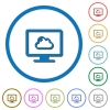 Cloud computing icons with shadows and outlines - Cloud computing flat color vector icons with shadows in round outlines on white background