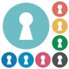 Keyhole flat round icons - Keyhole flat white icons on round color backgrounds