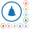 Christmas tree icons with shadows and outlines - Christmas tree flat color vector icons with shadows in round outlines on white background