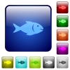 Fish color square buttons - Fish icons in rounded square color glossy button set