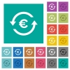 Euro pay back square flat multi colored icons - Euro pay back multi colored flat icons on plain square backgrounds. Included white and darker icon variations for hover or active effects.