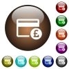 Pound credit card color glass buttons - Pound credit card white icons on round color glass buttons