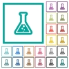 Flask with liquid flat color icons with quadrant frames - Flask with liquid flat color icons with quadrant frames on white background