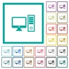 Desktop computer flat color icons with quadrant frames - Desktop computer flat color icons with quadrant frames on white background
